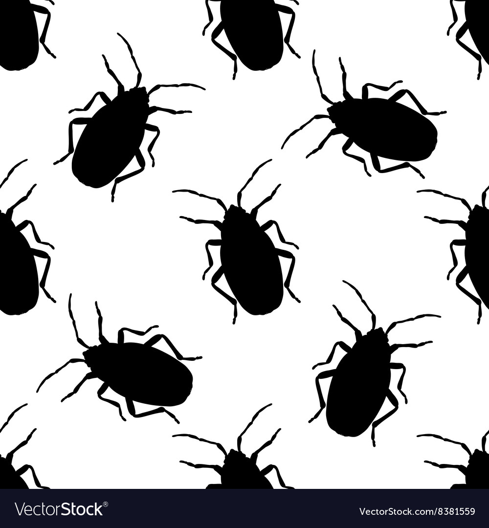 Seamless pattern with bugsoldier or firebug vector