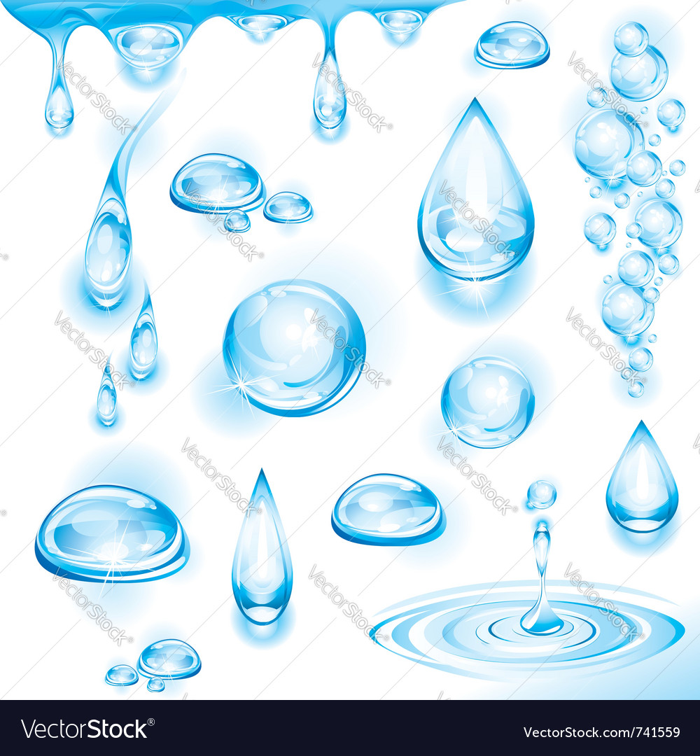 Set of water drops vector