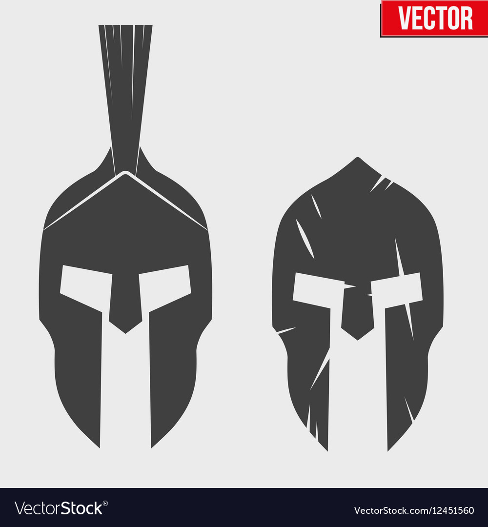 Set of silhouette spartan helmets vector