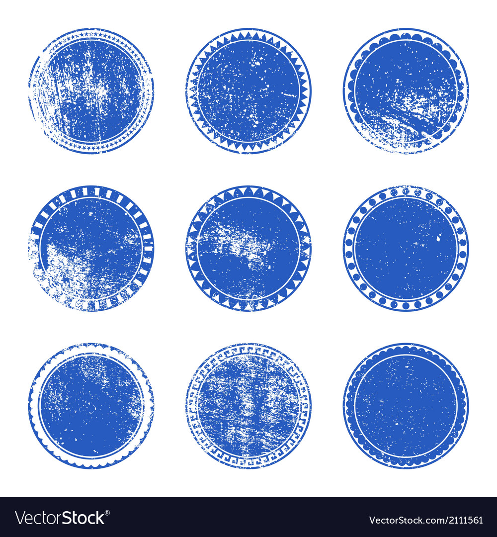 Blue grunge stamp set vector