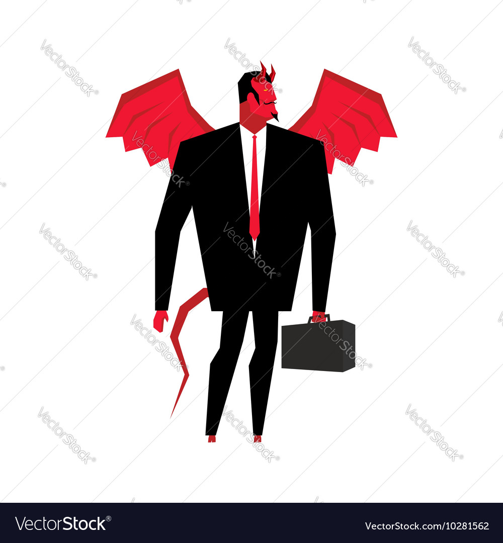 Devil businessman satan is boss of hell lucifer in vector