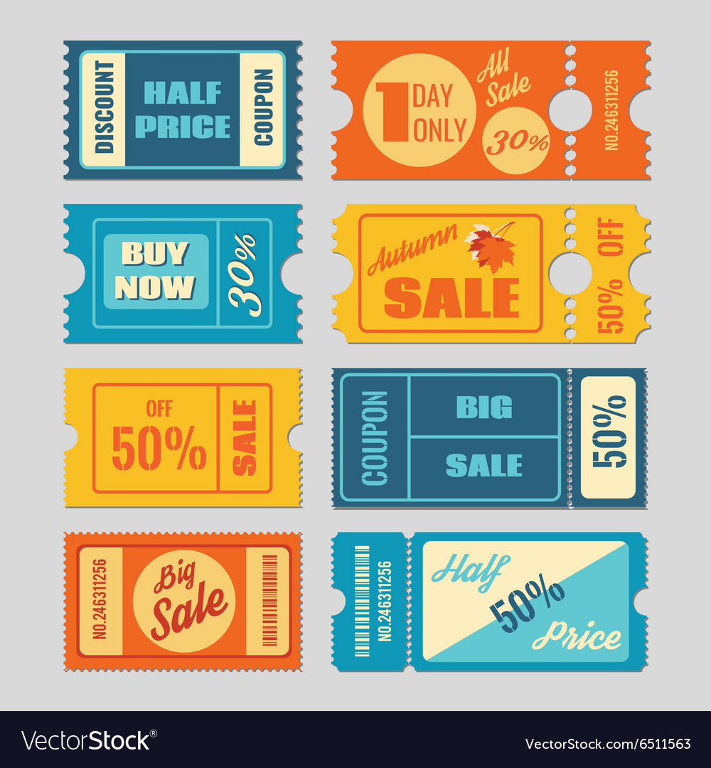 Discount coupon sale tickets set vector
