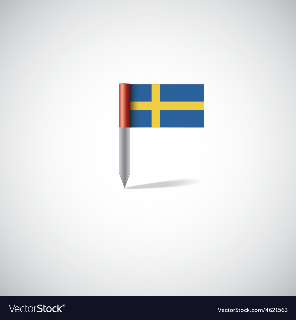 Sweden flag pin vector