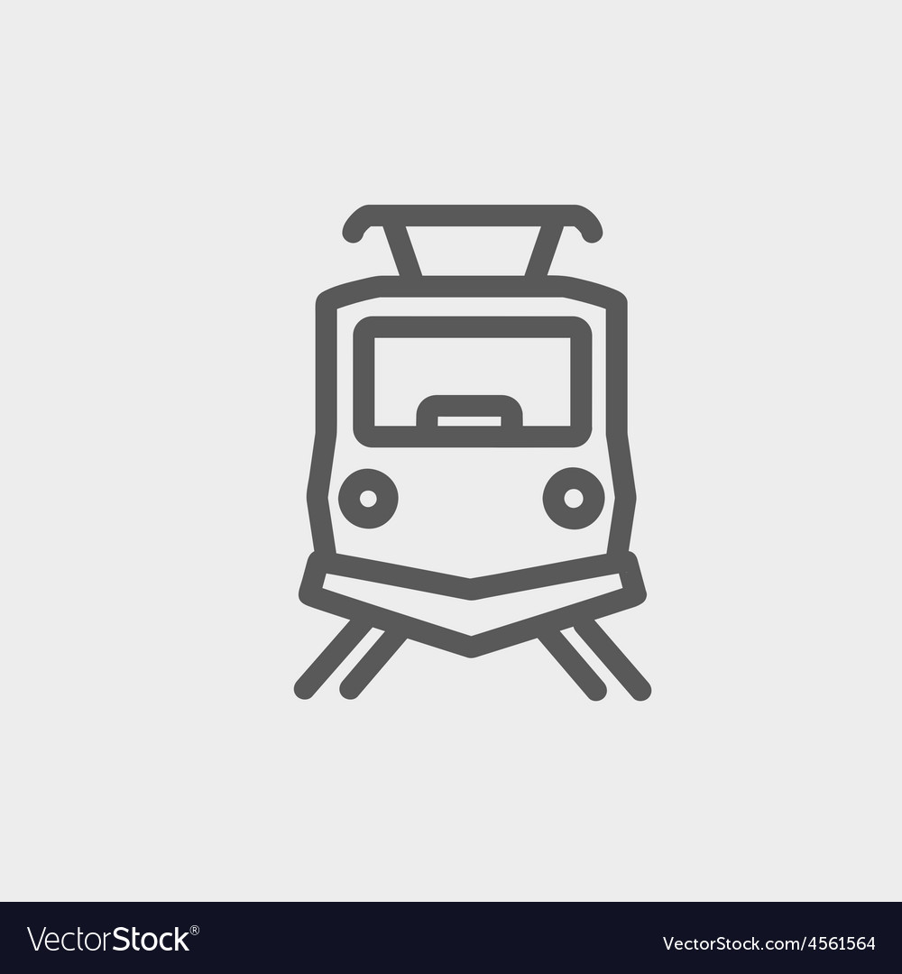 Front view of the train thin line icon vector