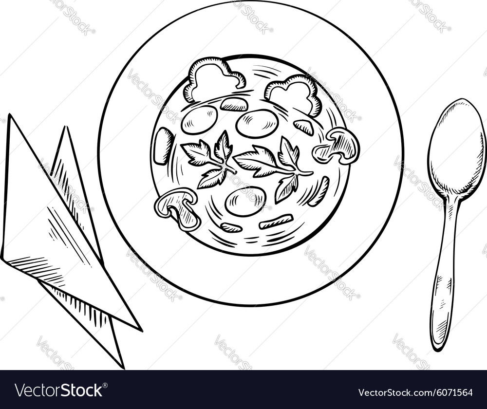 Vegetarian soup with spoon and napkins vector