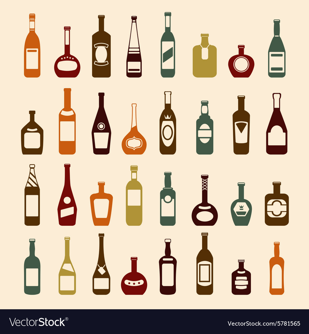Beer bottles and wine icon set vector