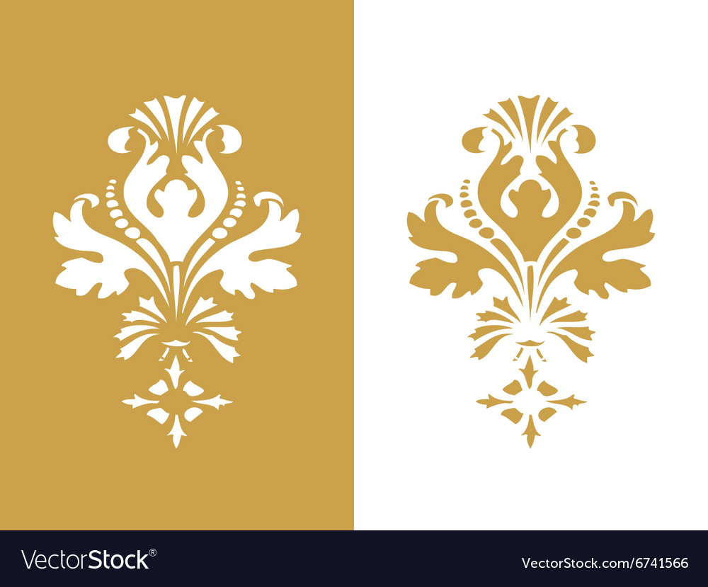Abstract flower element design isolated golden vector