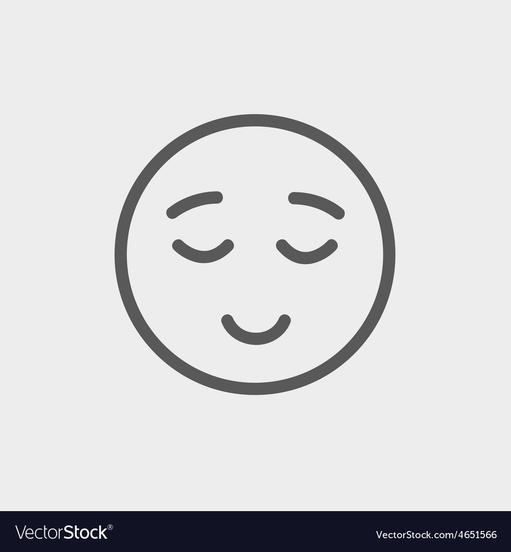 Smiling while sleeping thin line icon vector