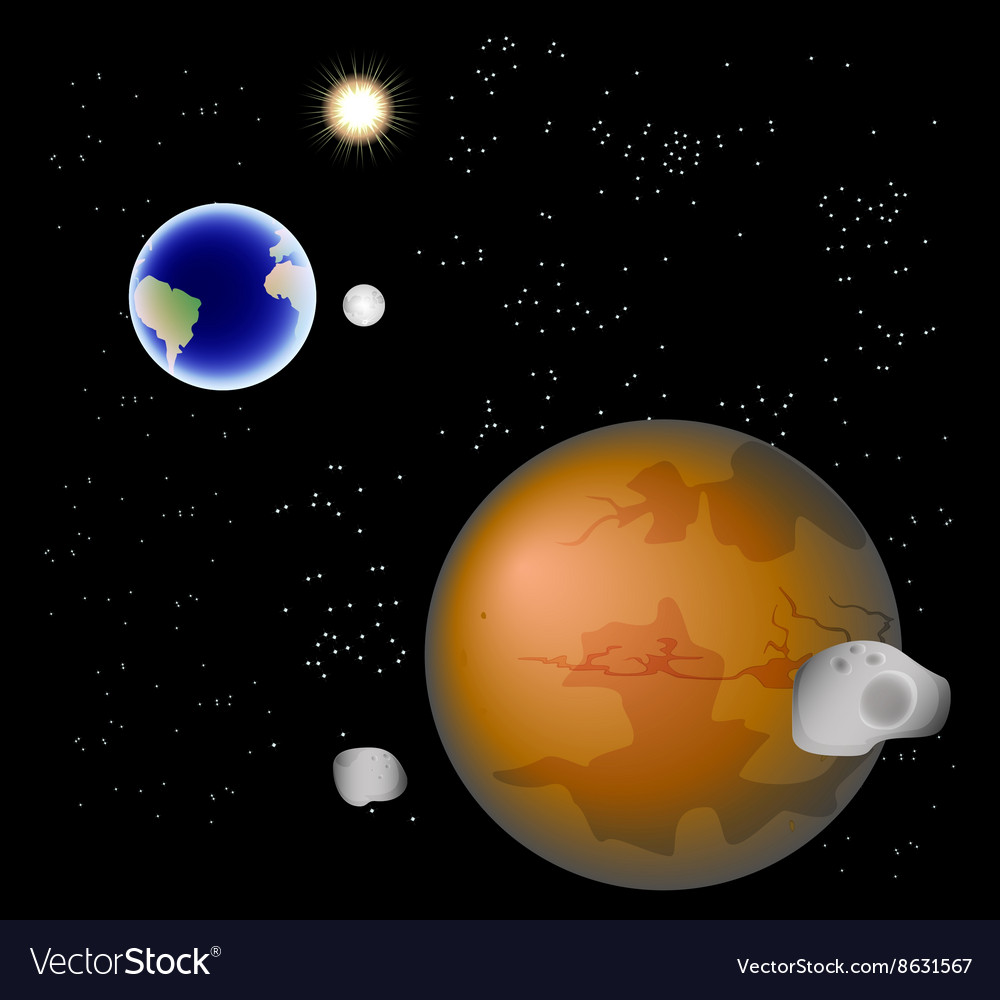 Abstract background with mars its satellites vector
