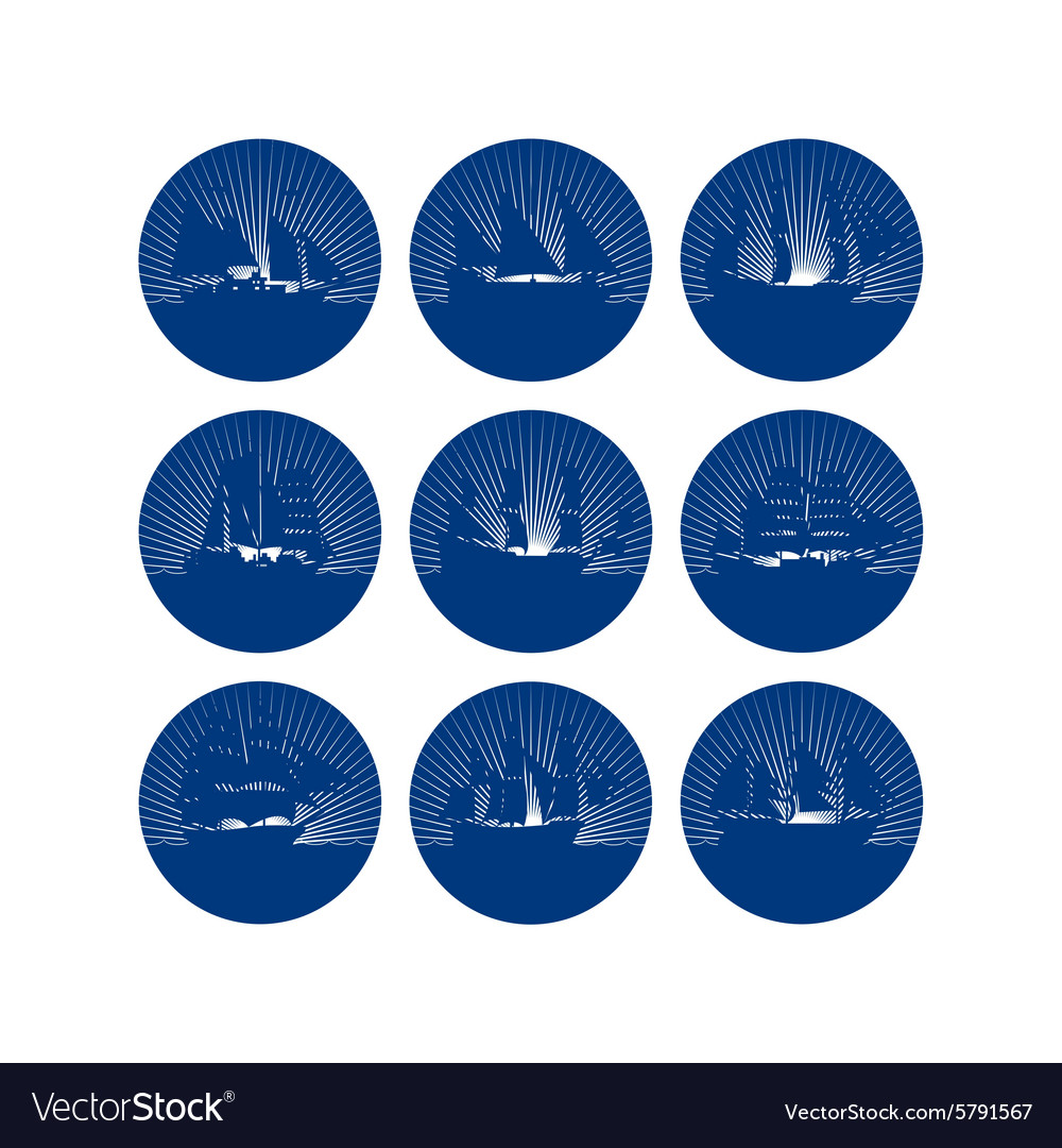 Badges with sailing ships1 vector
