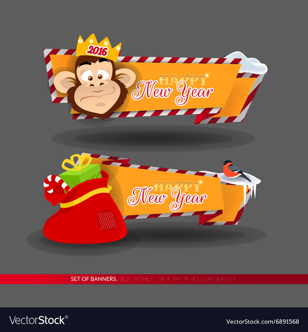 Set of banners for new year 2016 holidays vector