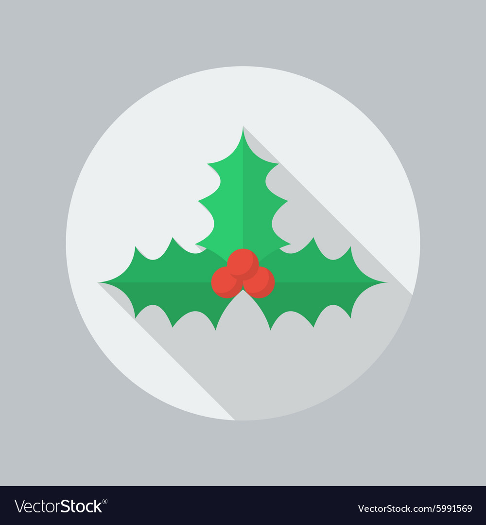 Christmas flat icon holly berry vector