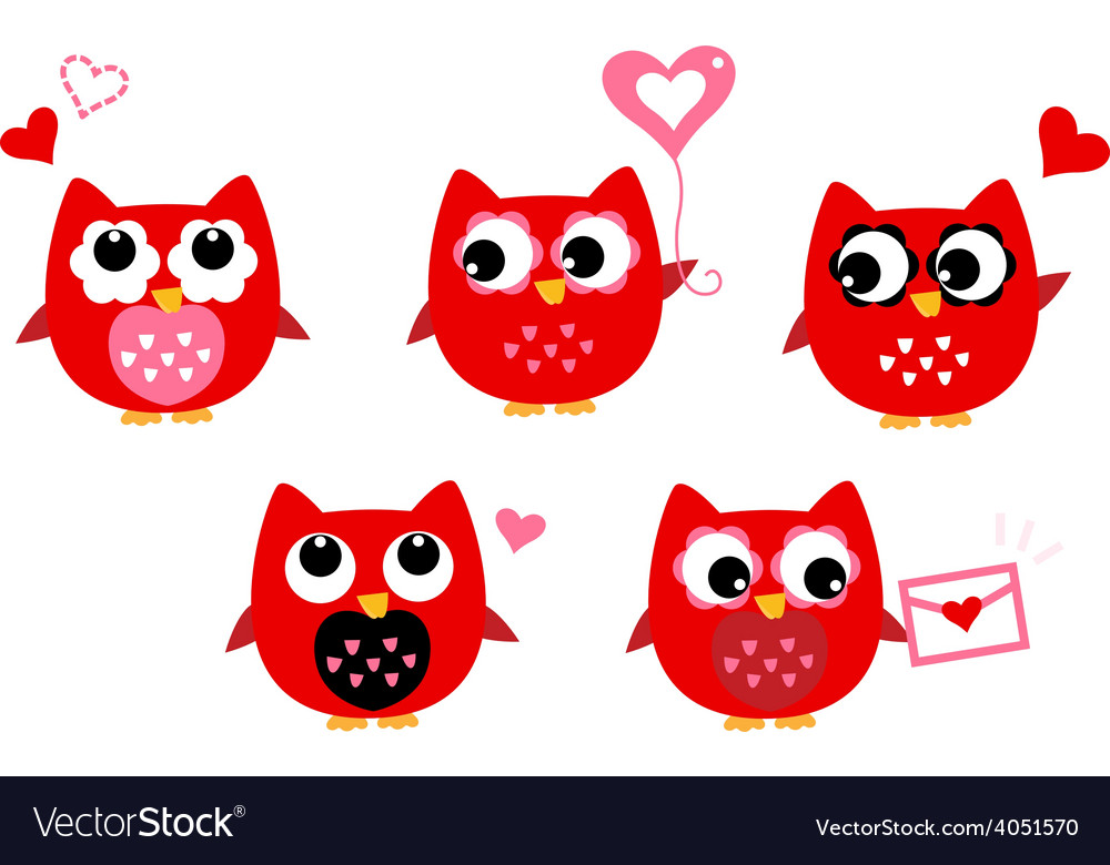 Cute owls for valentines day isolated on white vector