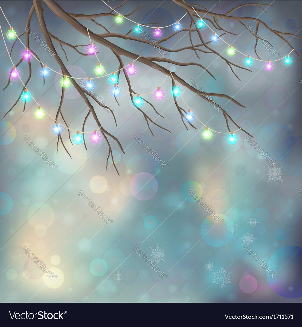 Christmas light bulbs on xmas night background vector