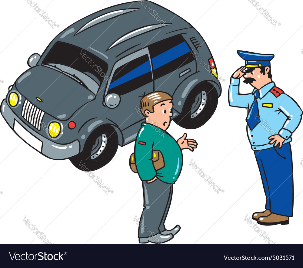 Policeman stopped the car talking with the driver vector