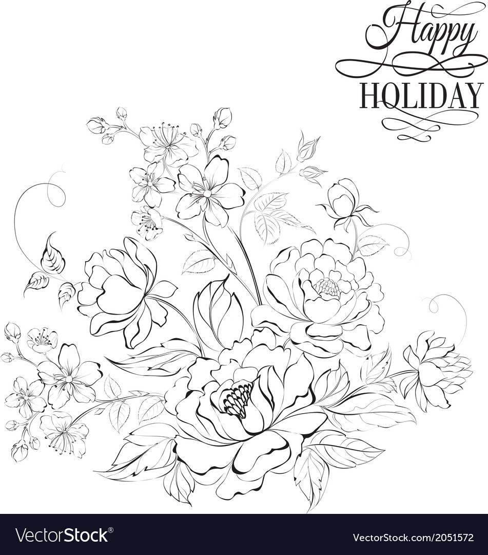 Flower bouquet of peony and sakura flowers vector