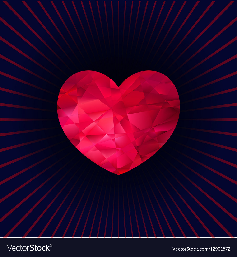 Heart made of triangles vector