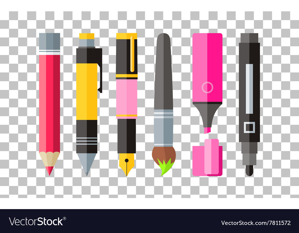 Painting tools pen pencil and marker flat design vector