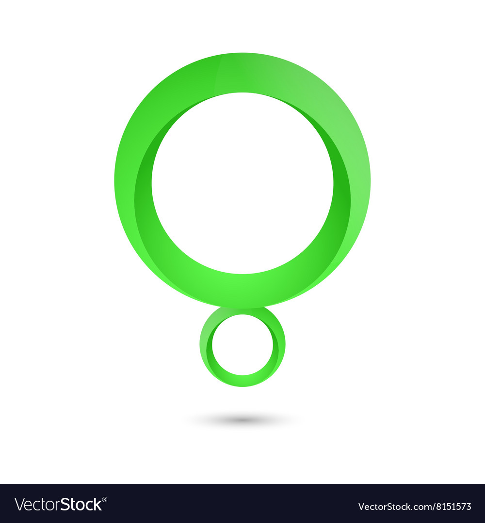 Abstract green circle shape letter q icon vector