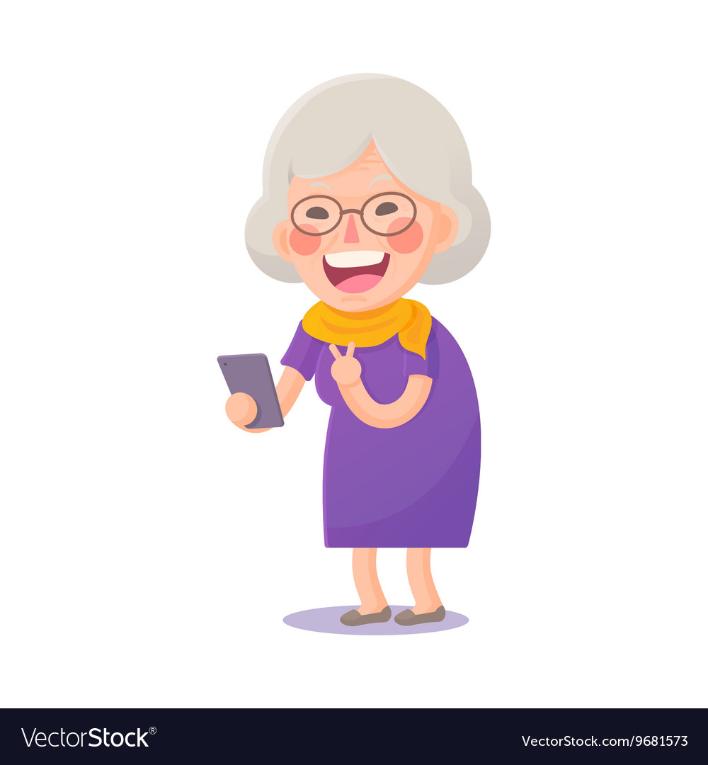 Happy old woman take a selfie vector