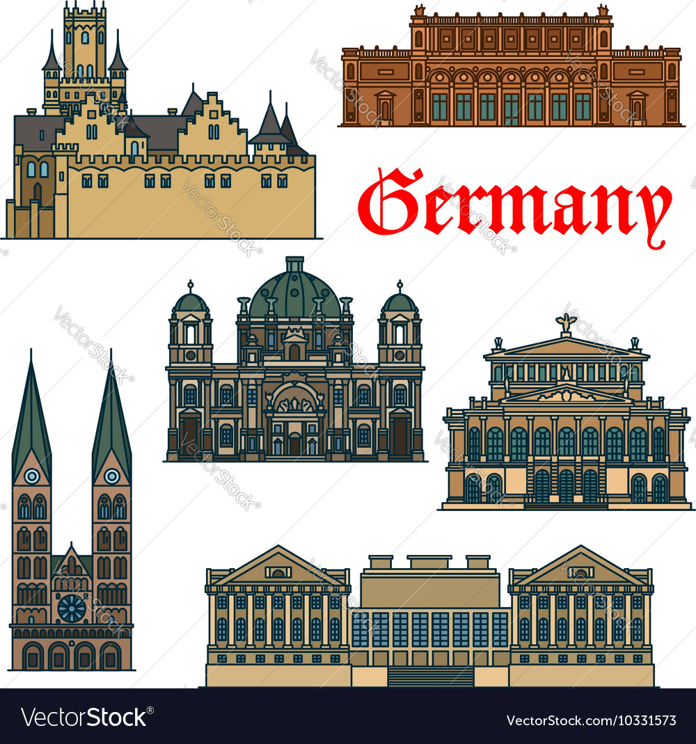 Travel guide thin line icon of german attractions vector
