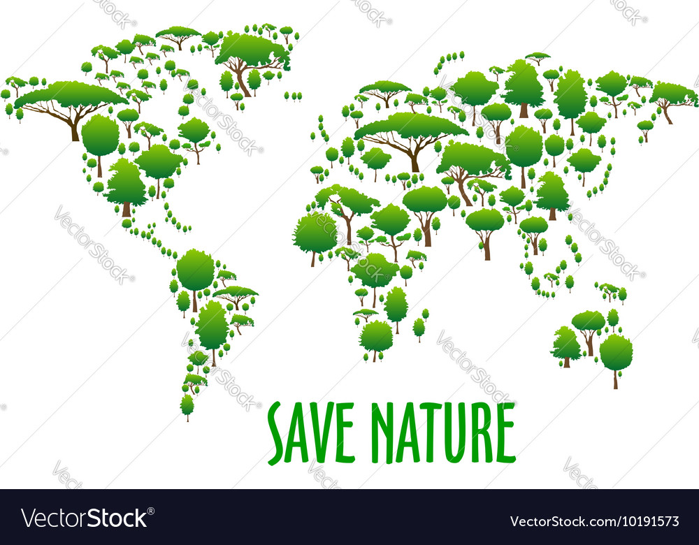 World map with green trees for eco design vector