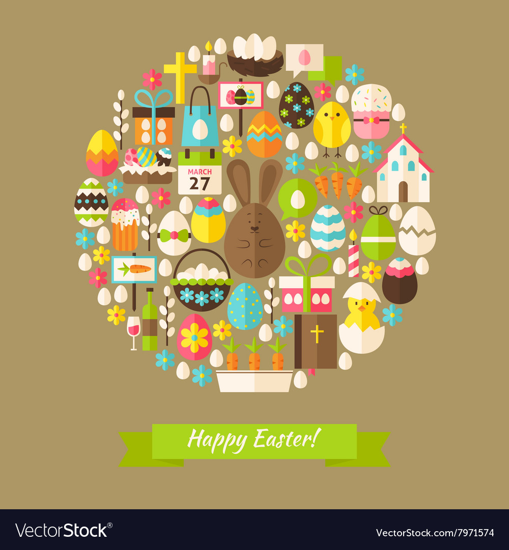 Flat happy easter holiday objects concept vector