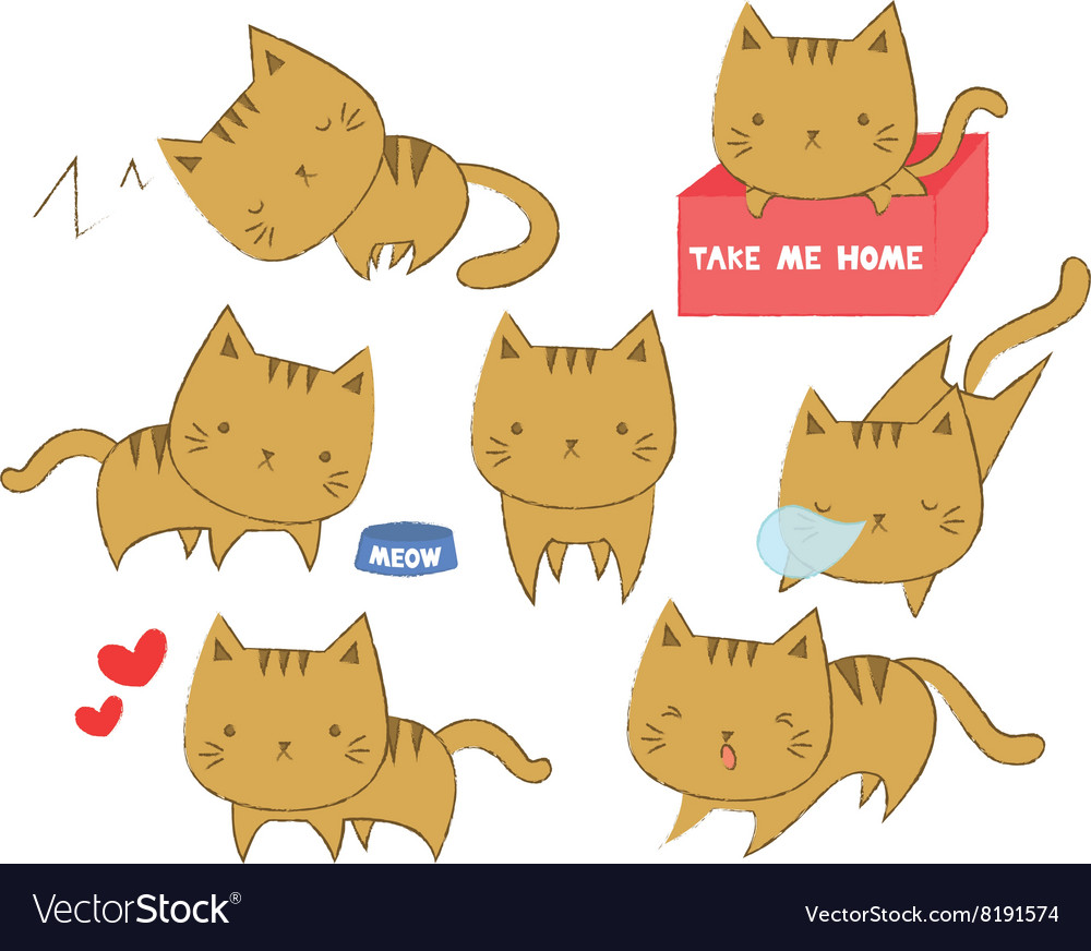 Set of cute cats in various positions vector