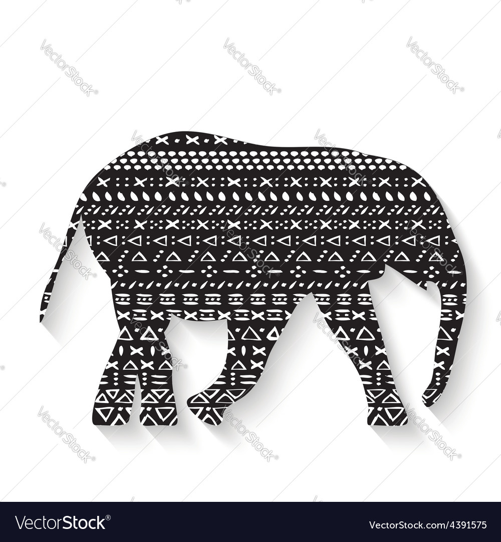 Elephant with pattern print tribal vector