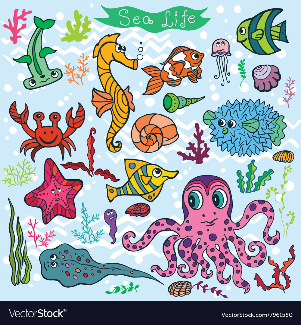 Cartoon funny fish sea life backgroundcolored vector