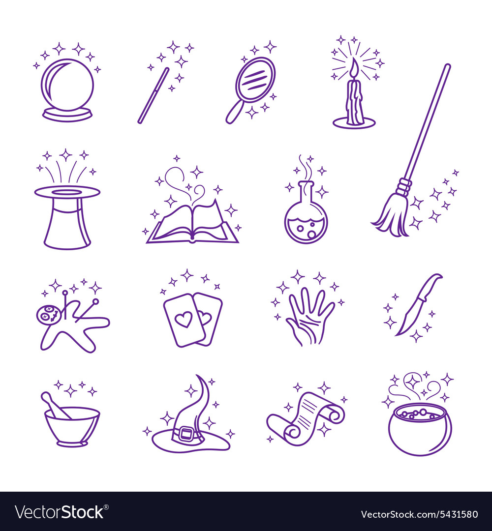 Magic icons in line style vector