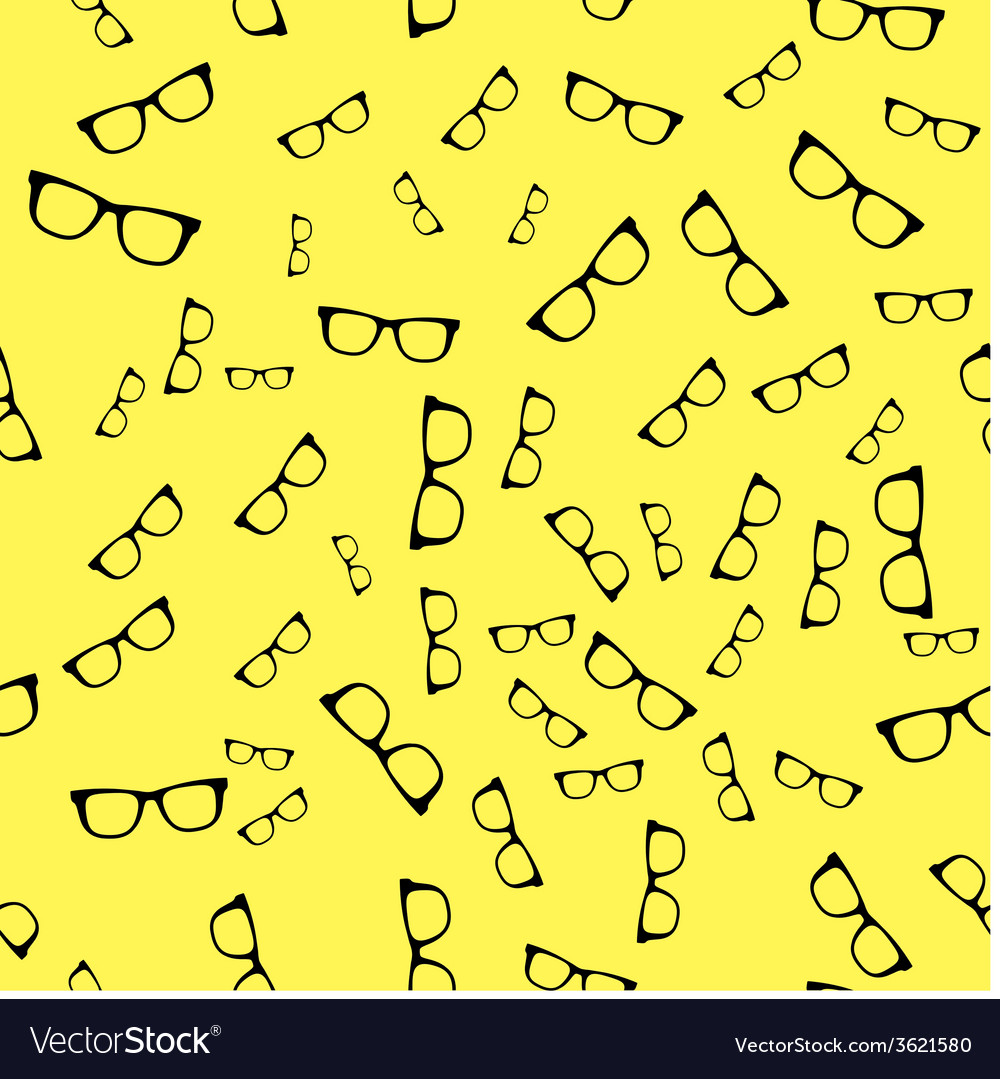 Seamless sunglass pattern on yellow background vector