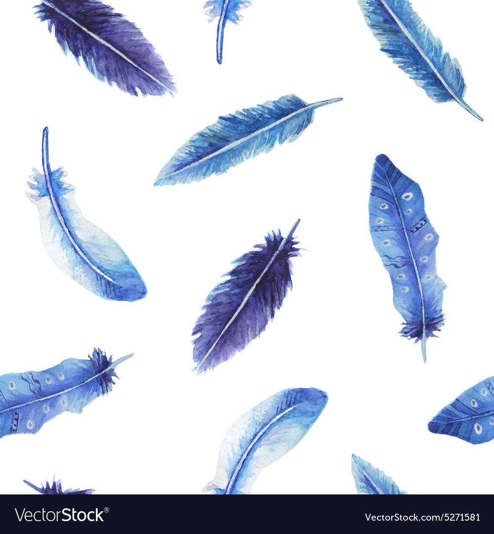 Watercolor feather seamless pattern vector
