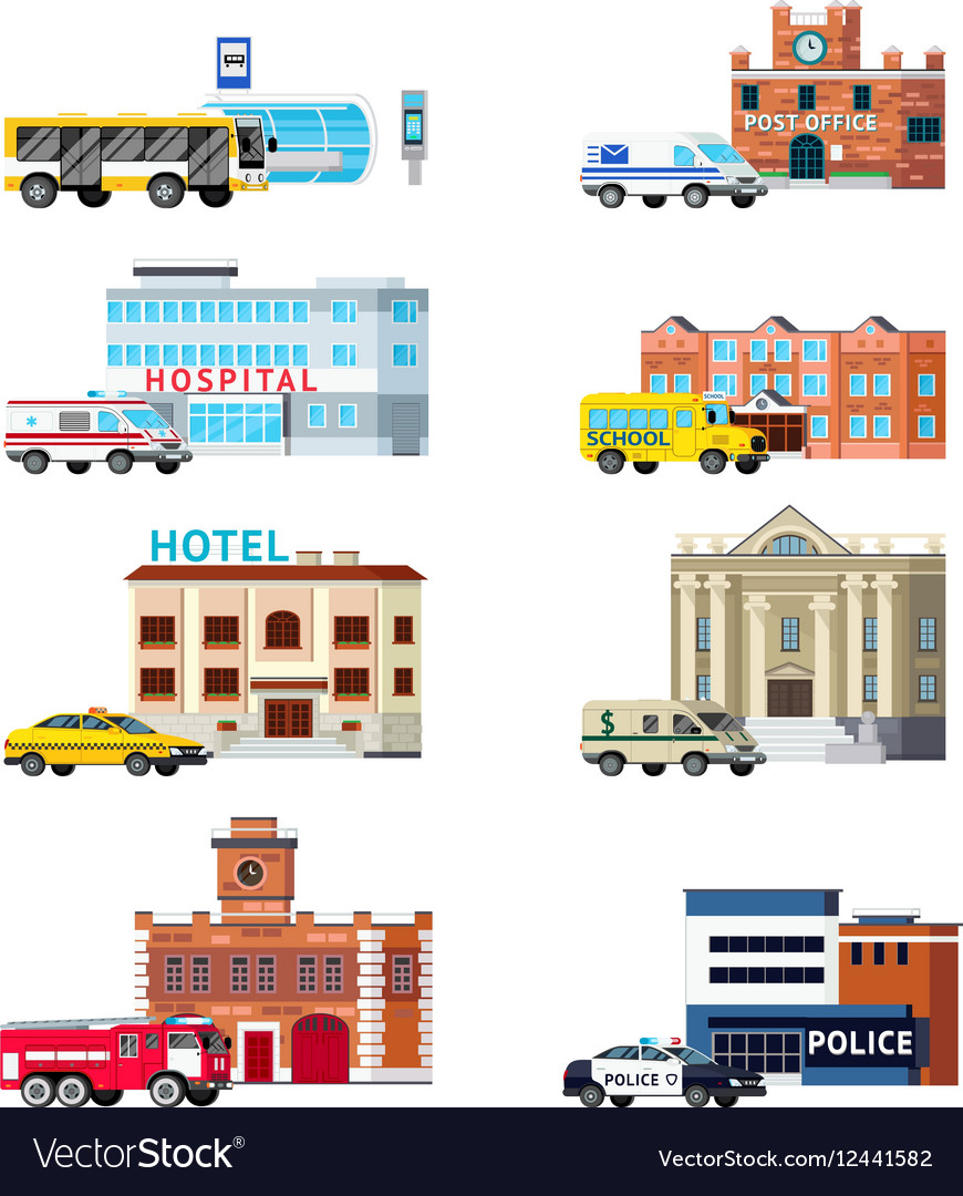 City services and buildings orthogonal set vector