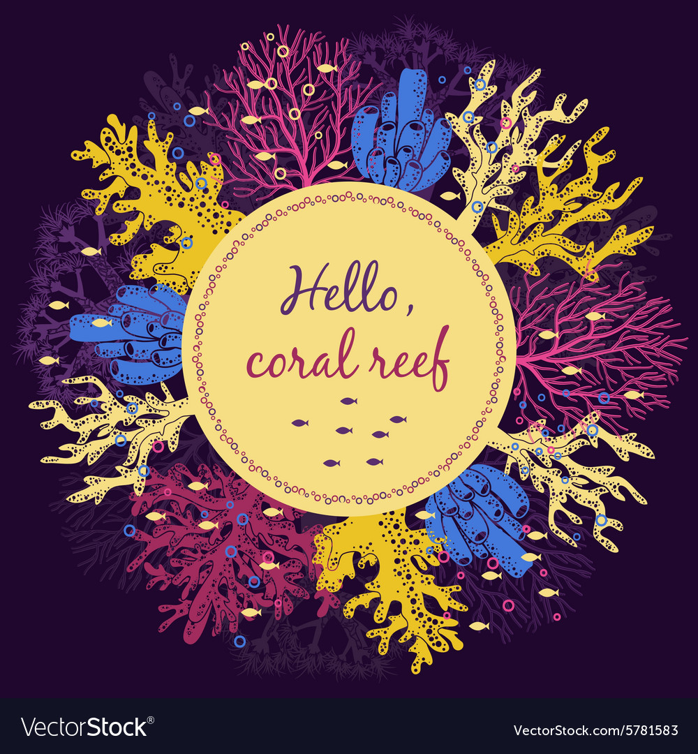 Coral reef invitation card template vector