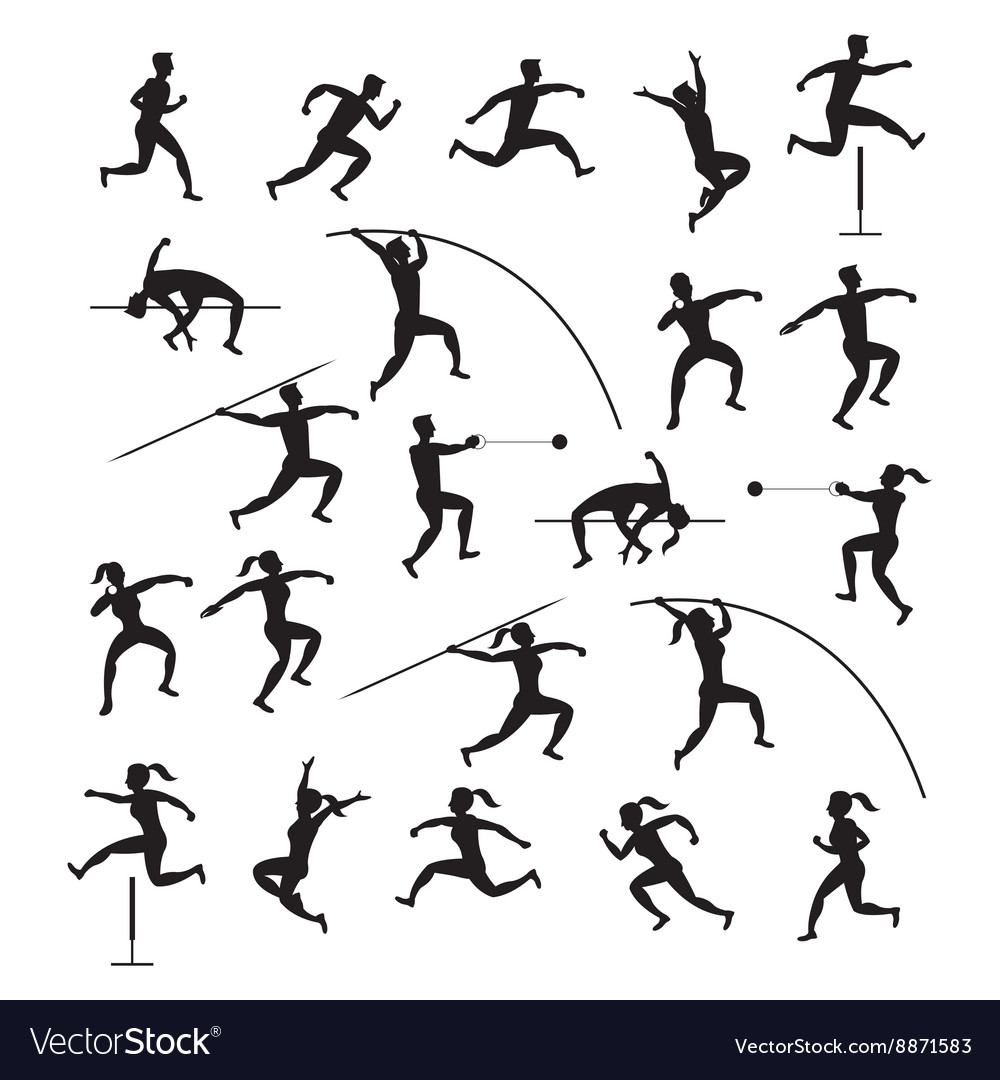 Sports athletes track and field silhouette set vector