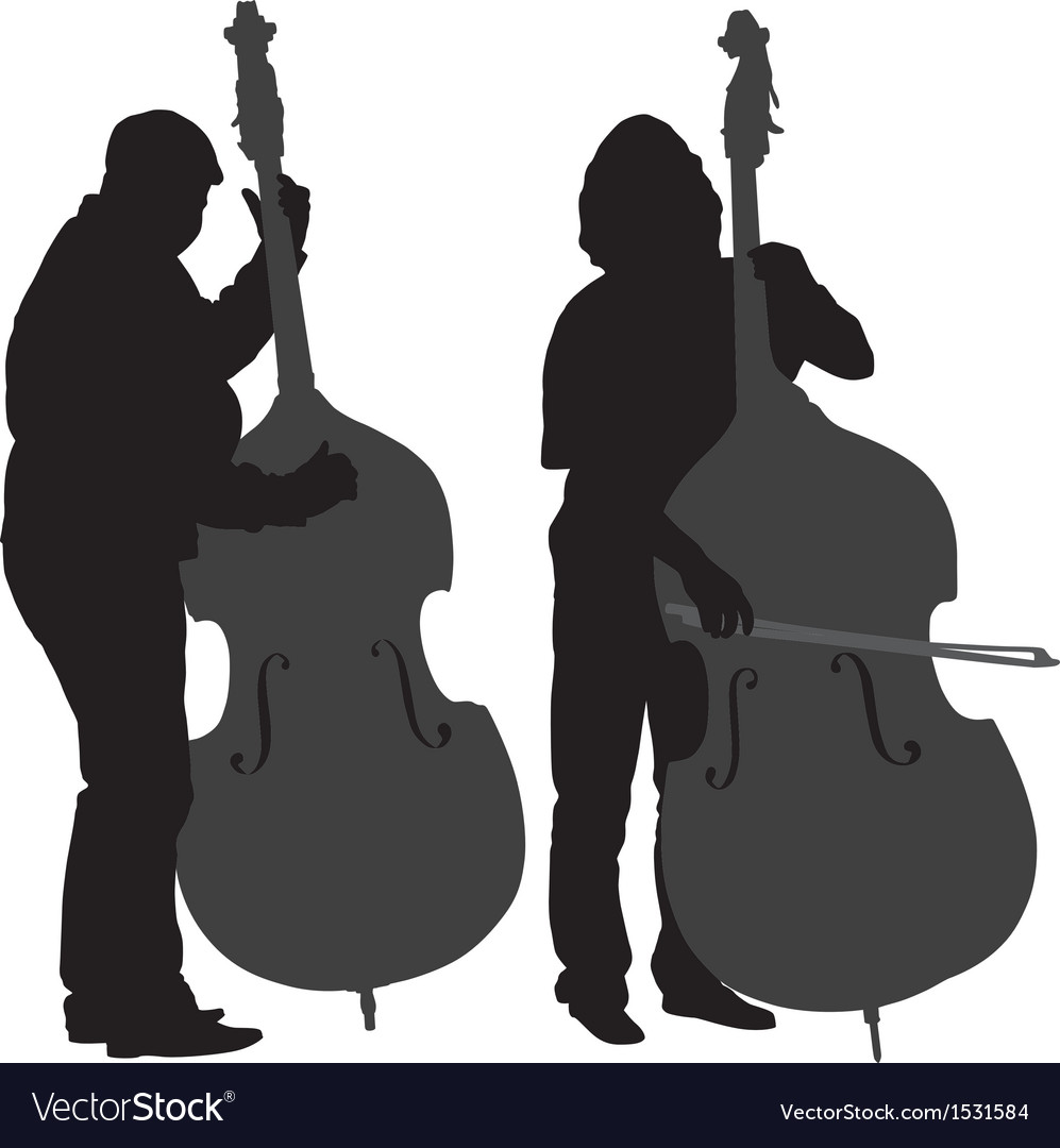 Bass player silhouette vector