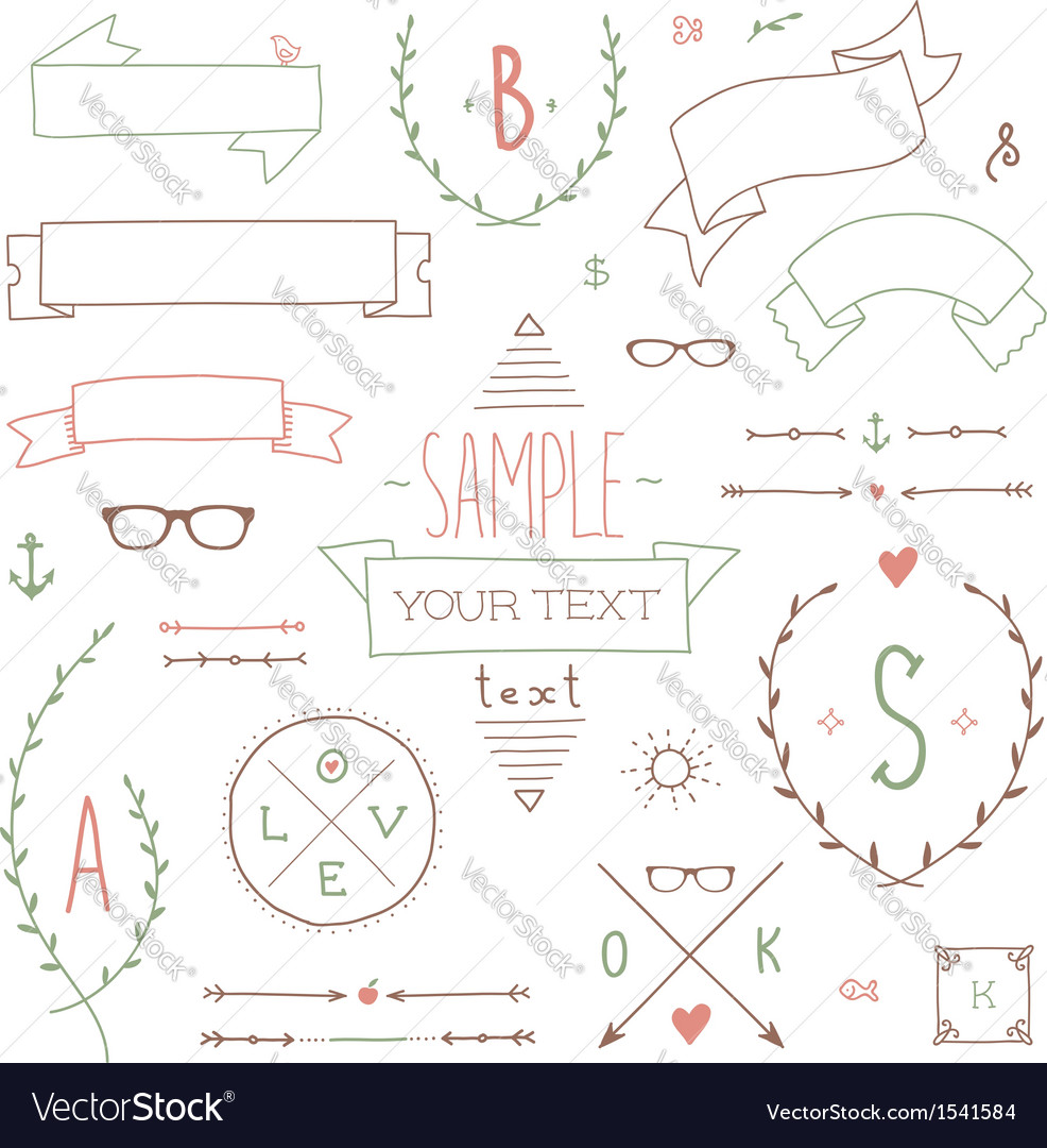 Hipster set ribbon vector