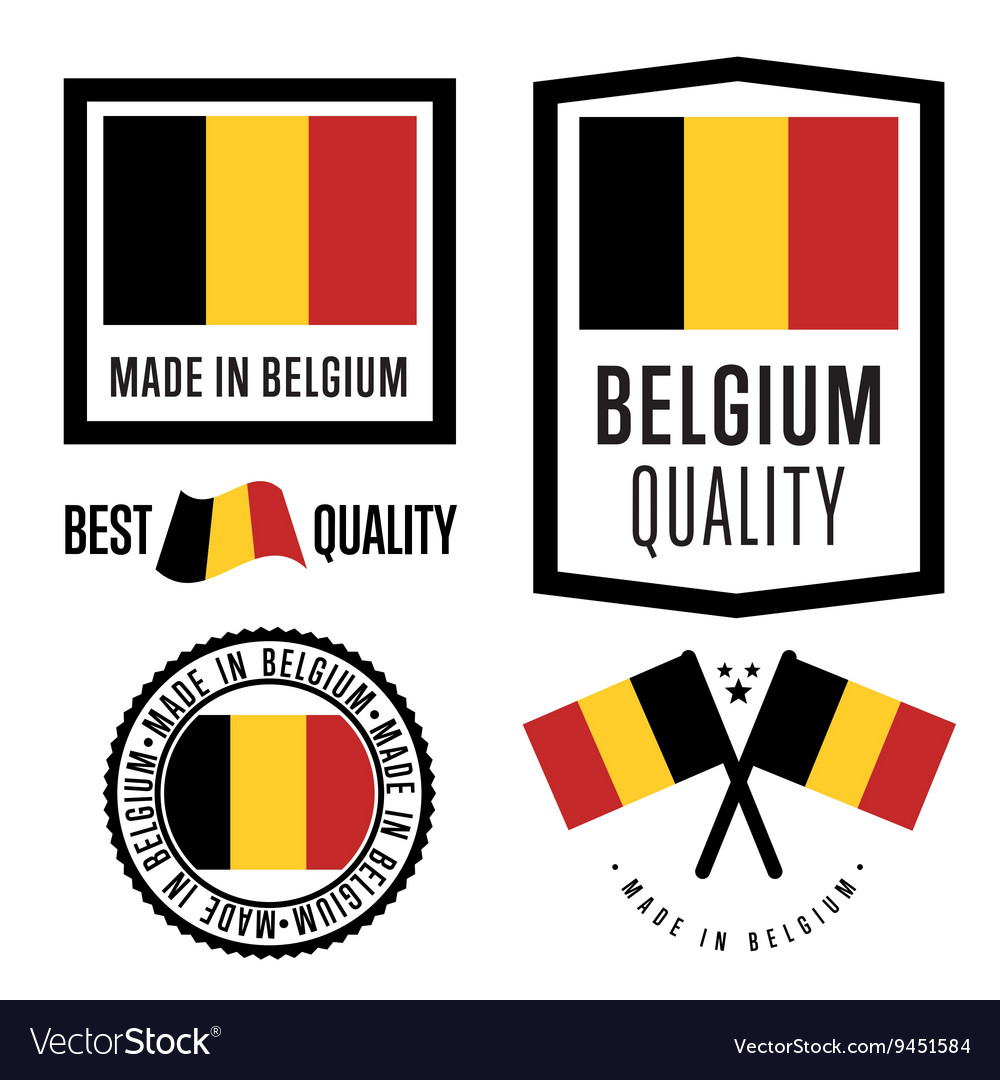 Made in belgium label set vector