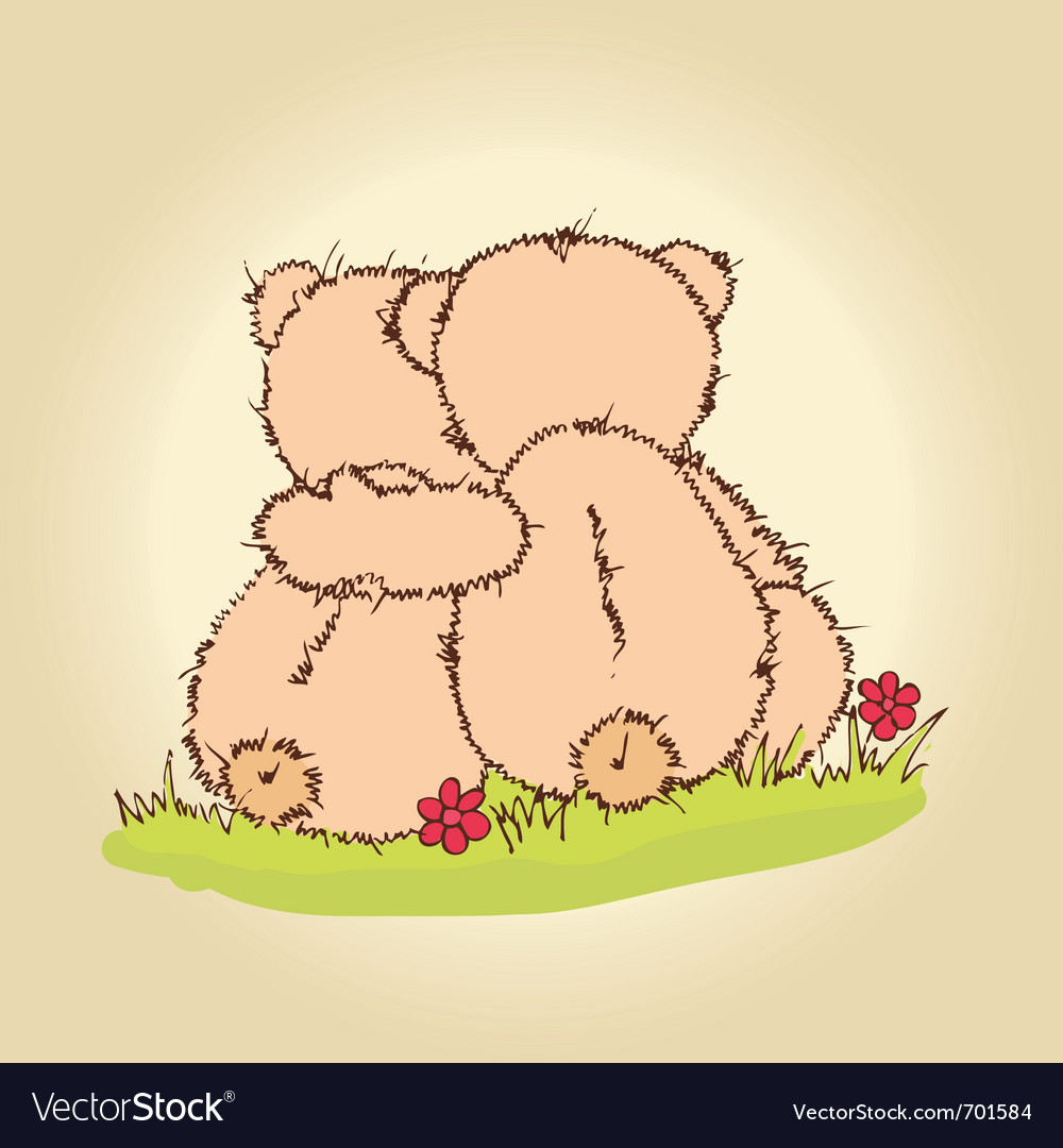 Teddy bears hug vector