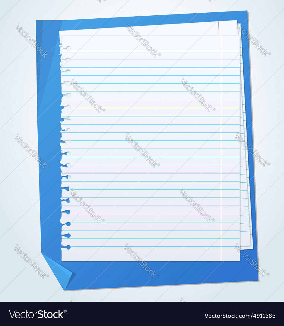 Lined exercise sheets and sheet of blue paper with vector