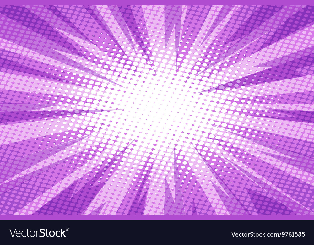Purple pop art retro burst background vector