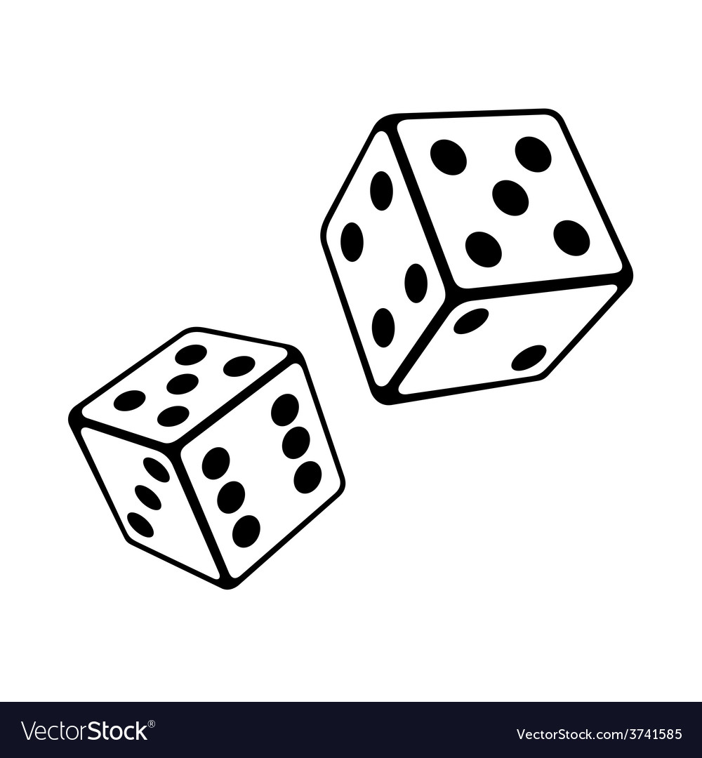 Two dice cubes on white background vector