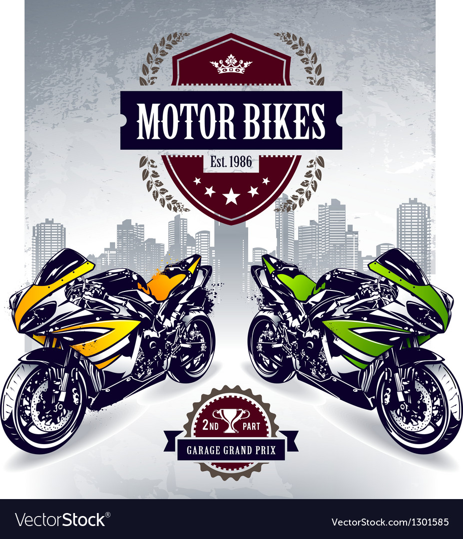 Two sport motorbikes vector