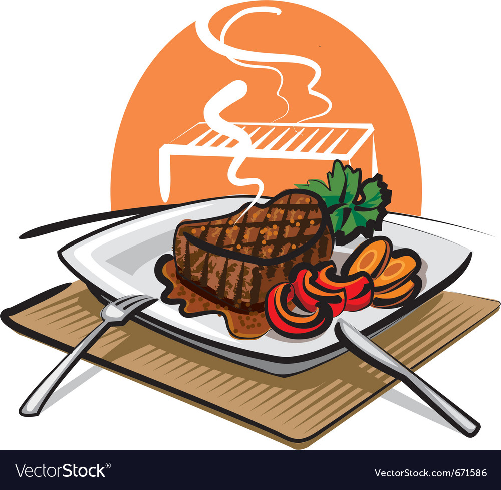 Grilled beef steak vector