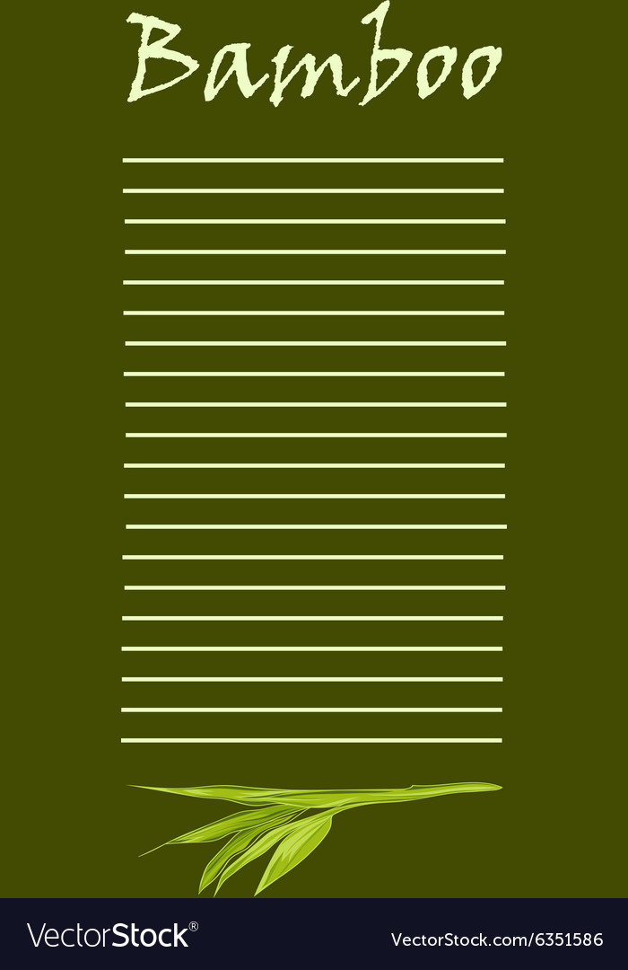 Handdrawn green bamboo bacground with space for vector