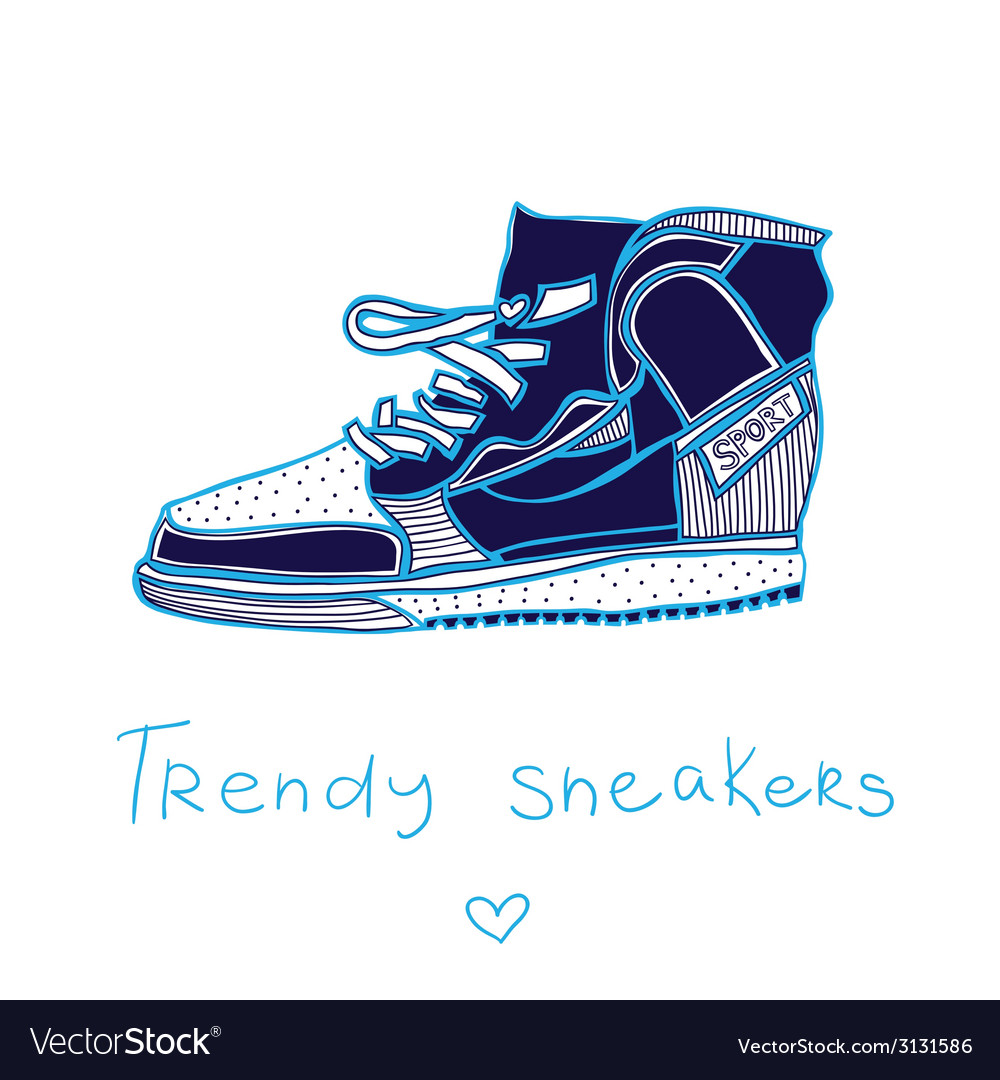 Trendy sneakers vector