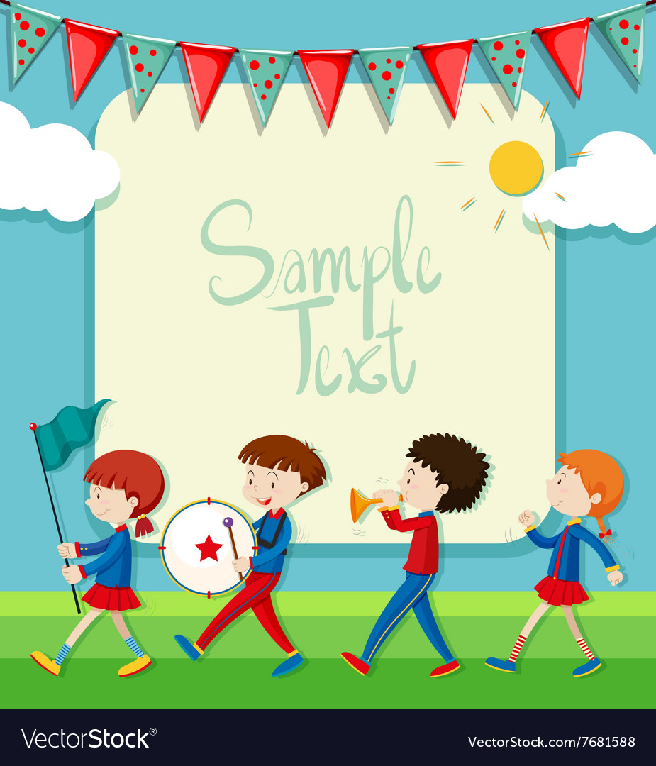 Border design with band marching in the park vector