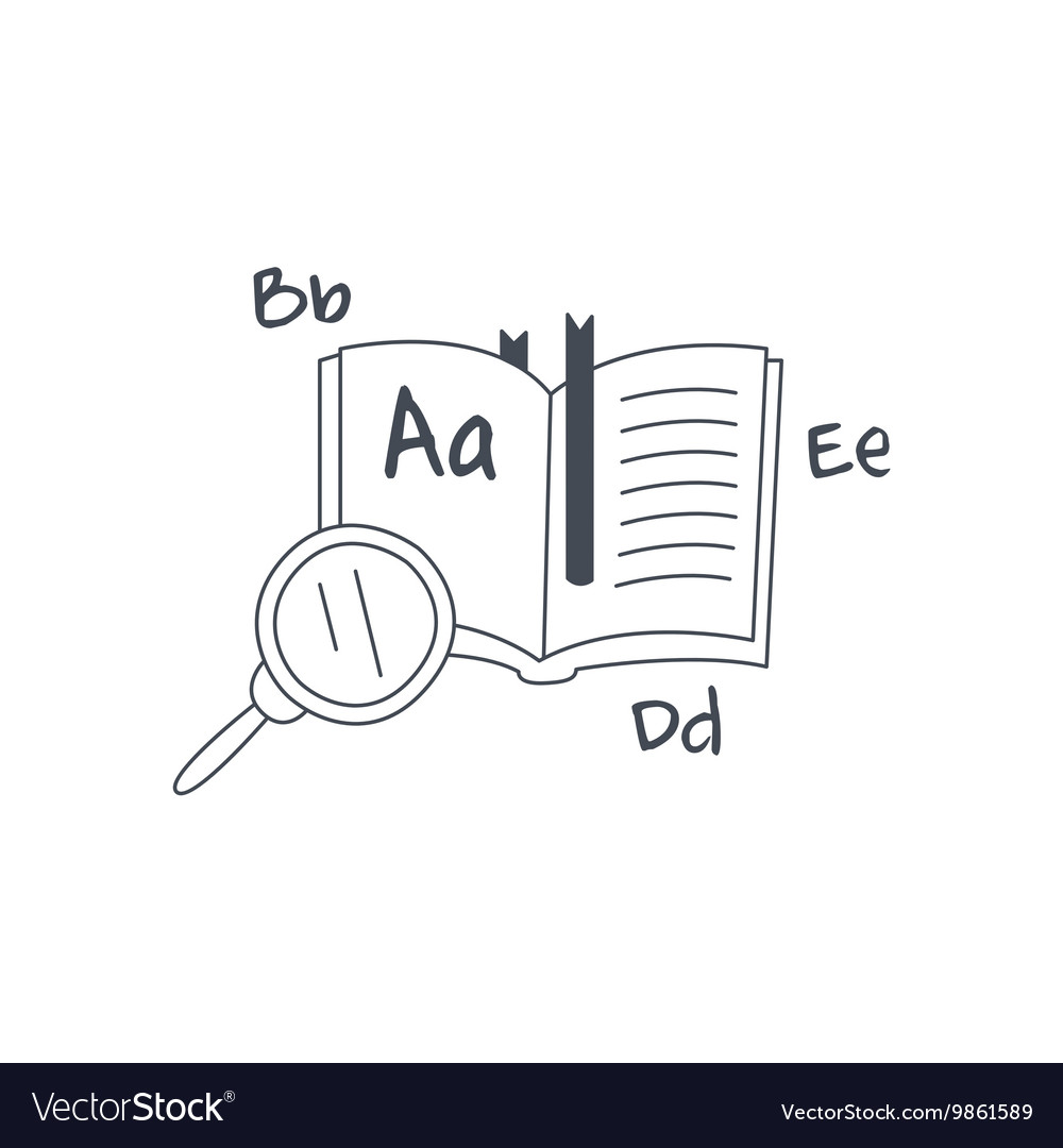Book in foreign language and magnifying glass vector