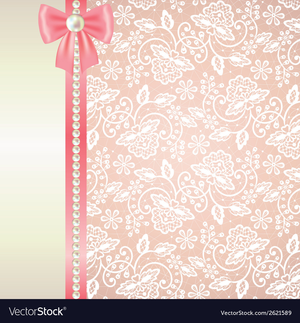 Card with white lace on pink background vector